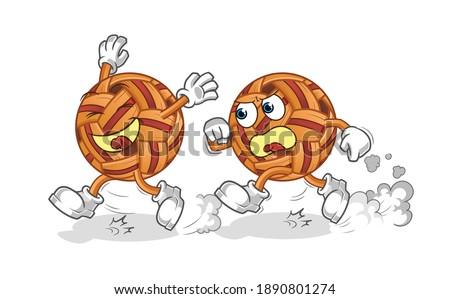 takraw ball play chase cartoon. cartoon mascot vector