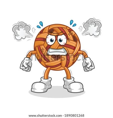 takraw ball very angry mascot. cartoon vector