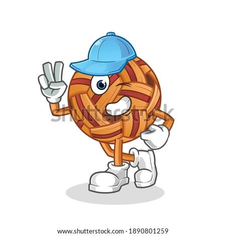 takraw ball young boy character. cartoon mascot vector