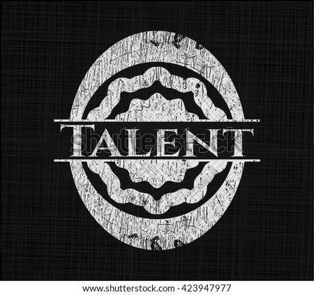 Talent chalk emblem written on a blackboard