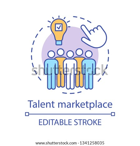Talent marketplace concept icon. Recruiting process idea thin line illustration. Talent acquisition team. Hiring skilled employee. Human resource management. Vector isolated drawing. Editable stroke