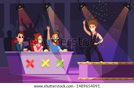 Talent show flat vector illustration. Dancer performing on stage, celebrity judges pressing buttons drawing.