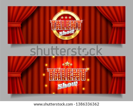 Talent show horizontal vector banner template set. Talent show signage with lights on realistic red velvet curtains. Talent contest, competition concept.