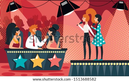 Talent Show Vector Illustration. Cartoon Girls Duet with Microphone Sing Song. Man Woman in Jury Judge. Musical Duo Performance, Vocal TV Competition, Television Show, Audition Contest