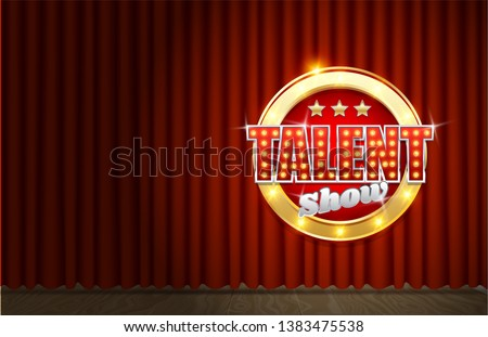 Talent show vector poster template. Theatrical scene, sign with glowing light bulbs on red velvet curtain. Talent contest, competition advertising or invitation card etc.