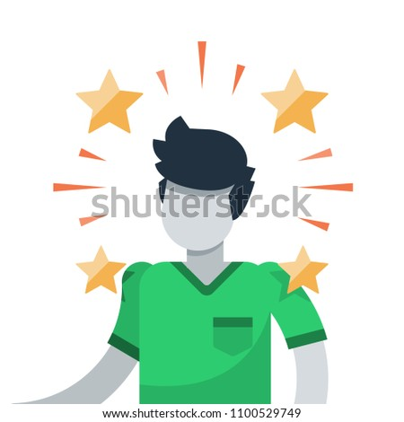Talented person, smart student, creativity and potential development, high achievement, self actualization and motivation, best employee of the month, celebrity cartoon, award ceremony - Shutterstock ID 1100529749
