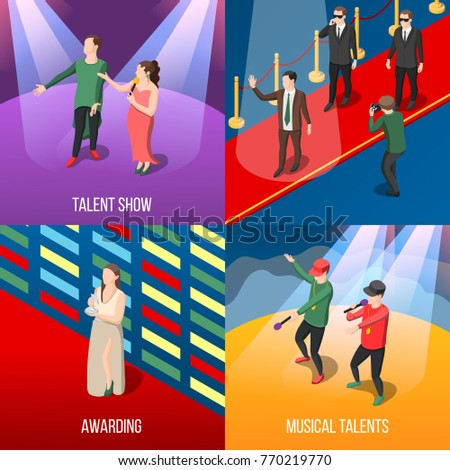 Talents and awards isometric concept with musical show program, young stars on red carpet isolated vector illustration