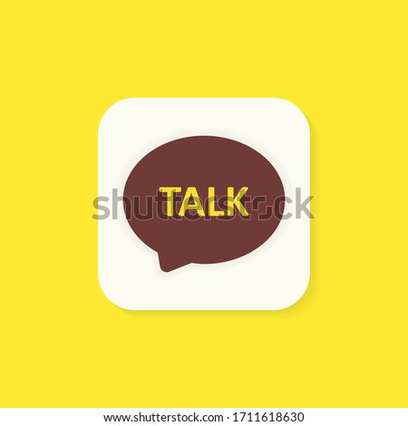 Talk chat messenger icon. White messenger button isolated on a yellow background. Social media concept. Vector illustration