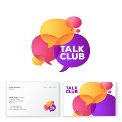 Talk Club logo. Language school logo. Conversational club icon. Chat logo. Community emblem. Colored bubbles. Identity. Business card.