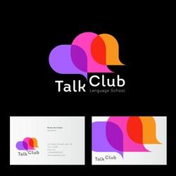 Talk Club logo. Language school logo. Conversational club icon. Chat logo. Community emblem. Three multi-colored bubble. Identity. Business card.