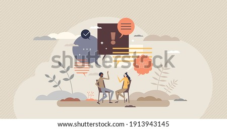 Talk conversation and speaking dialogue as communication tiny person concept. Social information sharing with language, text, speech or discussion vector illustration. Together couple exchanging news. Photo stock ©