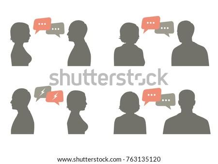 talk icon vector illustration. couple dialog ith speech bubble, communication concept