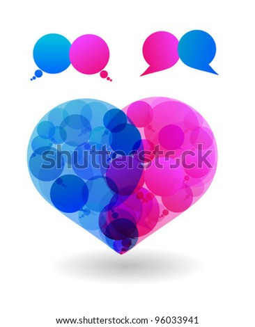 Talk in colors speech bubbles social media. Love. Heart. Social networks. dialog
