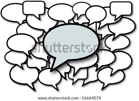Talk in speech bubbles social media communication copyspace.
