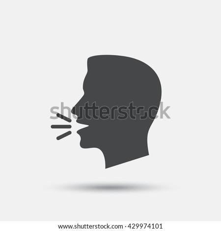 Talk or speak icon. Loud noise symbol. Human talking sign. Flat speak web icon on white background. Vector