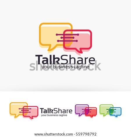 Talk Share, chat, communication, internet. Vector logo template