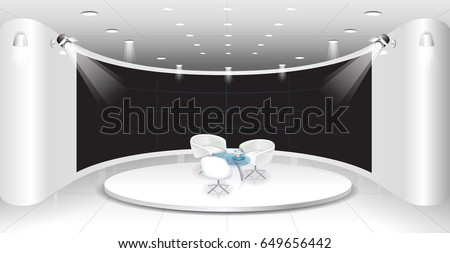 Talk show studio interior with comfortable sofas. modern wide space room