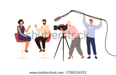 Talk show studio with interviewing, discussing hosts. People recording tv program, cameraman, journalists at work. On air news. Flat vector cartoon illustration isolated on white background