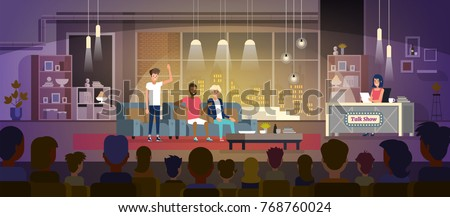 Talk show with three participants sitting on a couch and female reporter vector illustration