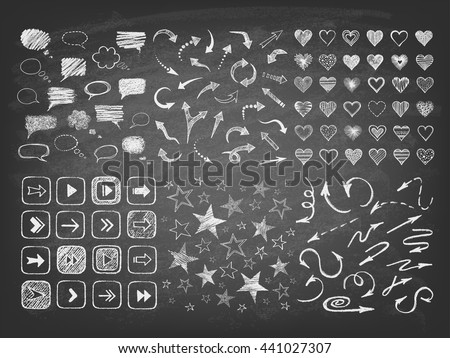 Talking bubble set and collection of stars, arrows, hearts on the blackboard. Set of hand drawn symbols. Vector illustration.