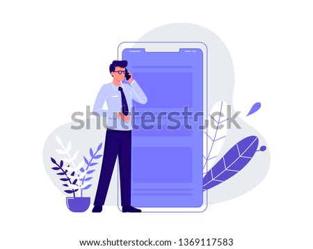 Talking on the phone, chatting. Young man standing near big smartphone and conducting business negotiations by phone. Isolated flat vector illustration