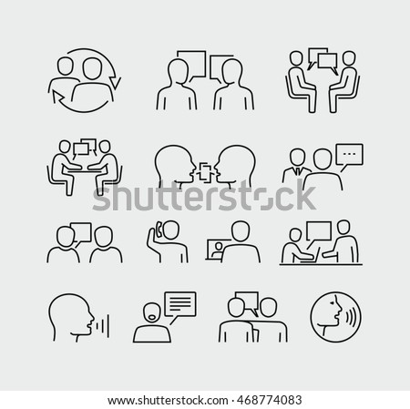 Talking People Line Vector Icons