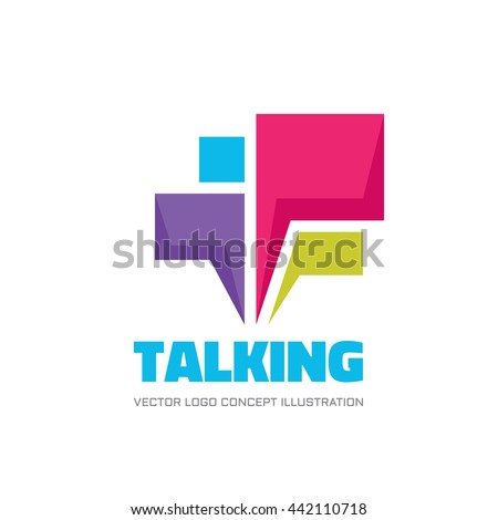 Talking - speech bubbles vector logo concept illustration in flat style. Dialogue icon. Chat sign. Social media symbol. Communication messages insignia. Design element.