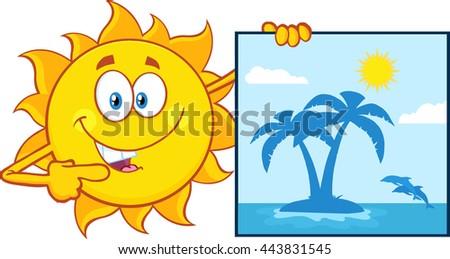 talking sun cartoon mascot