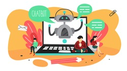 Talking to a chatbot online on laptop computer. Communication with a chat bot. Customer service and support. Artificial intelligence concept. Isolated vector flat illustration