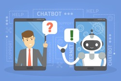 Talking to a chatbot online on mobile phone. Communication with a chat bot. Customer service and support. Artificial intelligence concept. Isolated vector flat illustration