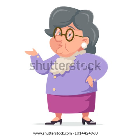Talking Wise Grandmother Old Woman Granny Character Adult Icon Cartoon Design Vector Illustration