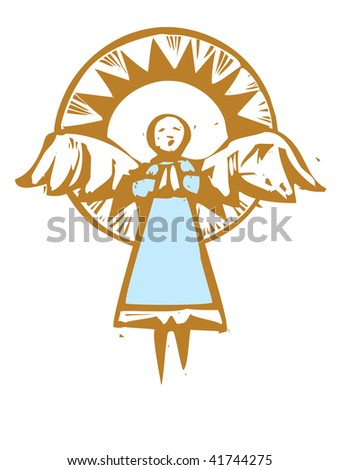 Tall angel with a stylized light halo.