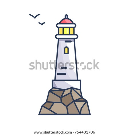 tall beacon with light on rock