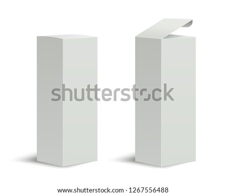 Tall box. High white cardboard box with a closed and open lid. Set of realistic vertical tall cardboard rectangular packaging, paper boxes. Vector 3D illustration isolated collection