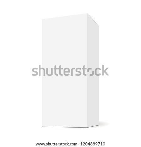 Tall box, rectangular mock up with side view. Sample for healthcare or cosmetic packaging design. Vector illustration