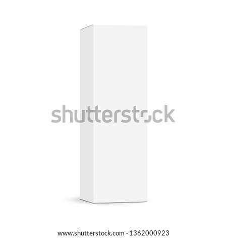 Tall cardboard packaging box mockup isolated on white background - half side view. Vector illustration