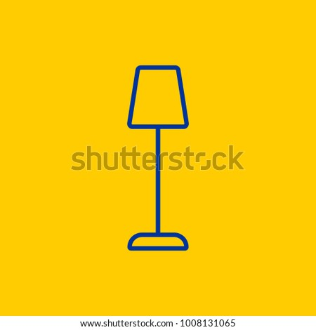 Tall stand lamp blue line icon on yellow background