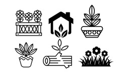 Tall Tree icons set. Simple flat line style icon design. Nature logo template. Outline drawing trees, isolated illustration - Illustration