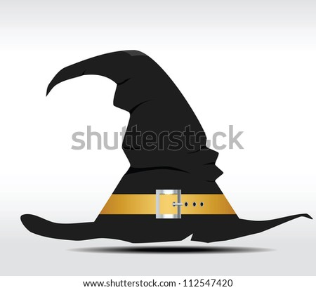 Tall witch hat on abstract background. Vector illustration