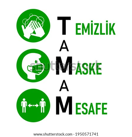 TAMAM Temizlik Maske Mesafe ('OK, Hygiene, Face Mask, Social Distancing' in Turkish) Coronavirus Covid-19 Measures and Warning Icon Set with Text. Vector Image. Stok fotoğraf ©