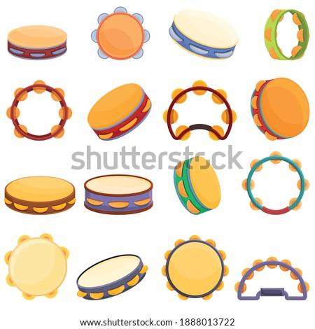 Tambourine icon set. Cartoon set of tambourines, vector icons for web design Stock photo ©