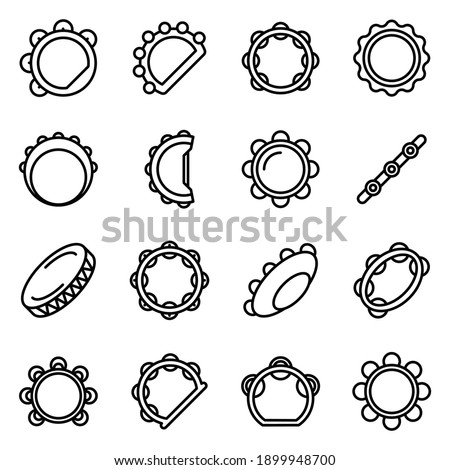Tambourine icons set. Outline set of tambourine vector icons for web design isolated on white background Stock photo ©