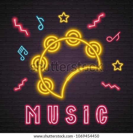 Tambourine Music Instrument Neon Light Glowing with Music Note Element Dark Background