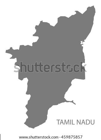 Tamil Nadu India Map grey Zdjęcia stock ©
