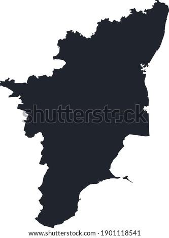 Tamil Nadu, India, vector map. High detailed illustration, Vector Zdjęcia stock ©