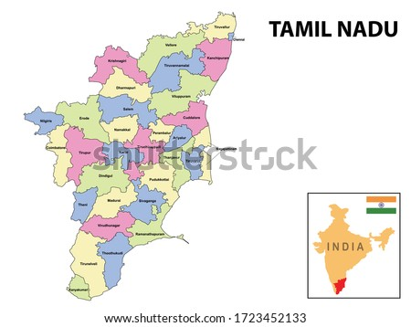 Tamil nadu map. District ways map of tamil nadu with name. Vector illustration of Tamilnadu geographical map. New and original design with showing border line and name. Zdjęcia stock ©