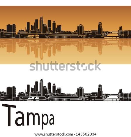 tampa skyline in orange