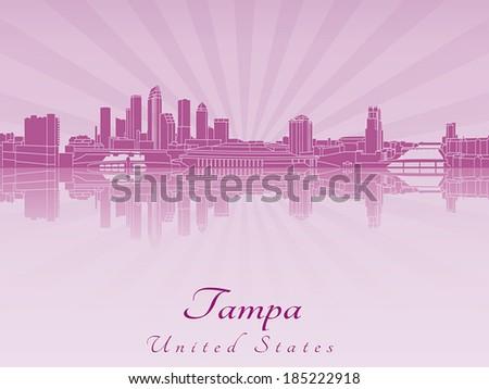 tampa skyline in purple radiant