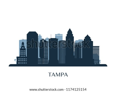 Tampa skyline, monochrome silhouette. Vector illustration.