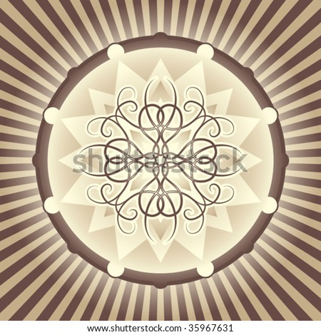 Tan and brown decorative medallion design. Vector format.